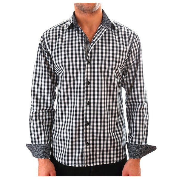 Luciano Mens Slim Fit Cotton Shirt by Vince Barbera Black Gingham