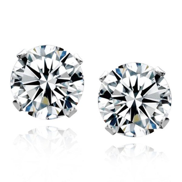 Sterling Silver Round White Topaz Stud Earrings (China)