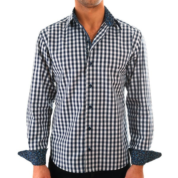 Luciano Mens Slim Fit Cotton Shirt by Vince Barbera Navy Gingham