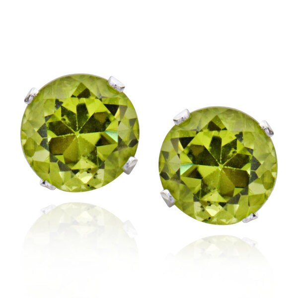 Sterling Silver Round Peridot Stud Earrings (China)