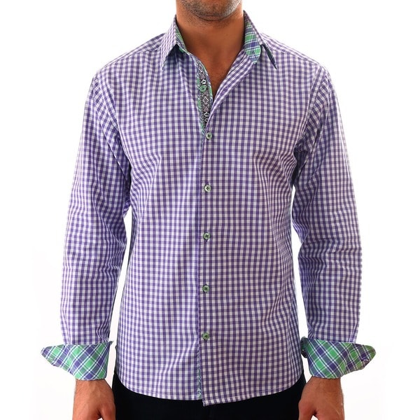 Luciano Mens Slim Fit Cotton Shirt by Vince Barbera Purple Gingham