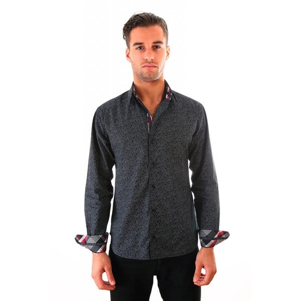 Luciano Mens Slim Fit Cotton Shirt by Vince Barbera Black Paisley (As Is Item)