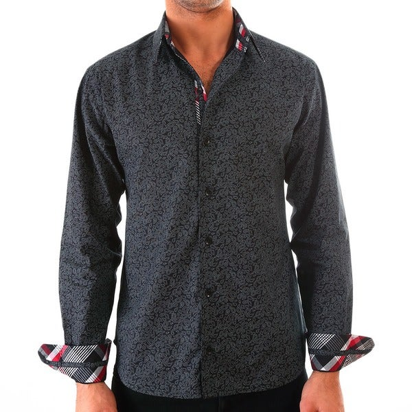 Luciano Mens Slim Fit Cotton Shirt by Vince Barbera Black Paisley