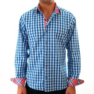 Luciano Mens Slim Fit Cotton Shirt by Vince Barbera Blue Gingham