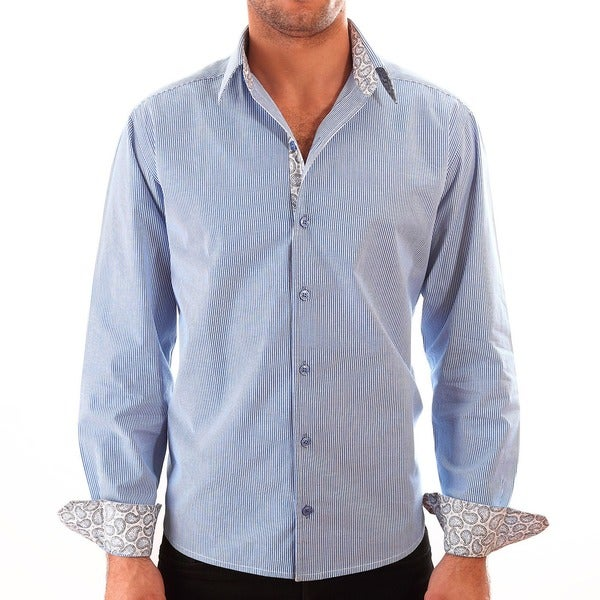 Luciano Mens Slim Fit Cotton Shirt by Vince Barbera Blue Stripes