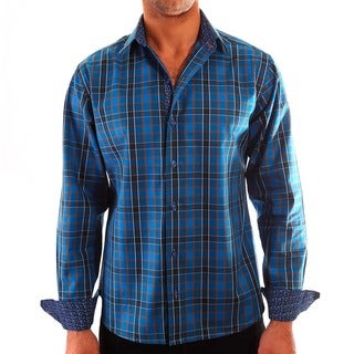 Luciano Mens Slim Fit Cotton Shirt by Vince Barbera Blue Brown