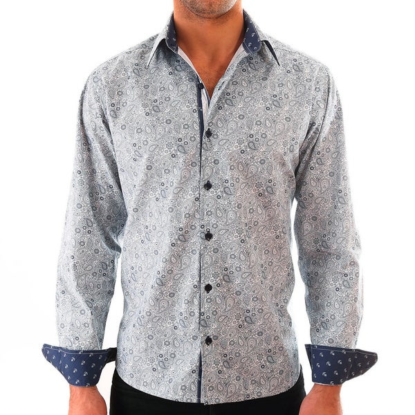 Luciano Mens Slim Fit Cotton Shirt by Vince Barbera White Paisley