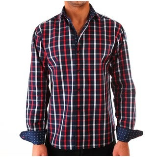 Luciano Mens Slim Fit Cotton Shirt by Vince Barbera Navy Red
