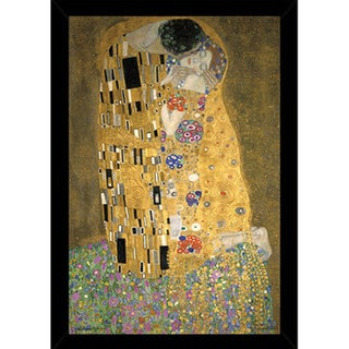 Klimt's Kiss Print (24 inched x 36 inches) with Contemporary Poster Frame