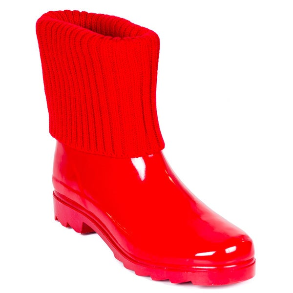 Women's Short Ankle Rubber Red Knit Sock Cuff Rain Boots