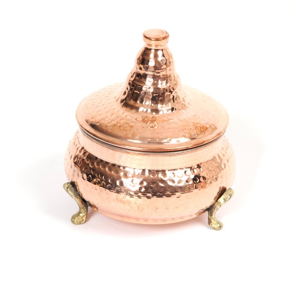 Handmade Large Copper Sugar Bowl Hand Hammered Tea Canister (Tunisia)