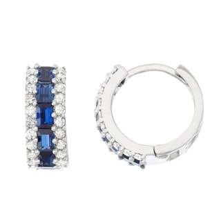 Gioelli 10k White Gold Created Sapphire 1/2ct TDW Diamond Pave Hoop Earrings (H-I, I1-I2)