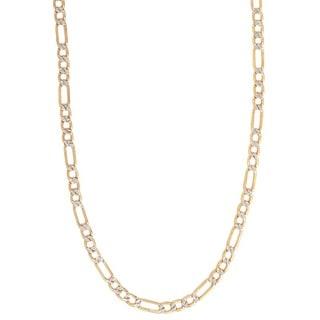 Pori 14k Gold Figaro Pave Chain Necklace