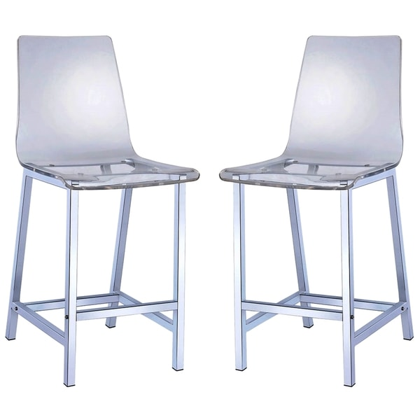 Melaney Art Deco Sleek Design Clear Acrylic Counter Height Stools Set Of 2 image