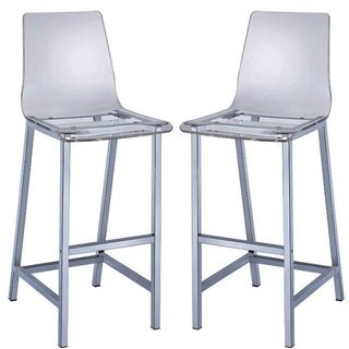 Melaney Art Deco Sleek Design Clear Acrylic Bar Stools (Set of 2)
