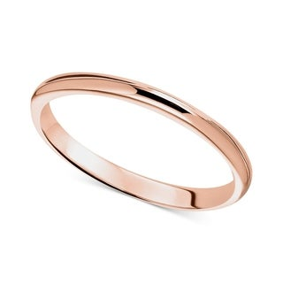 Pori 14k Solid Rose Gold 2mm Unisex Band Ring