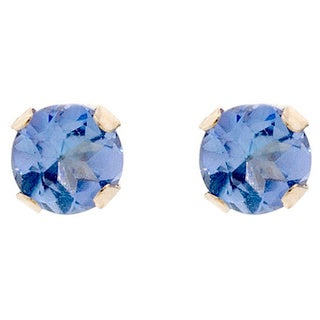 Pori 14k Gold 0.5ct TGW Round Genuine Tanzanite Stud Earrings