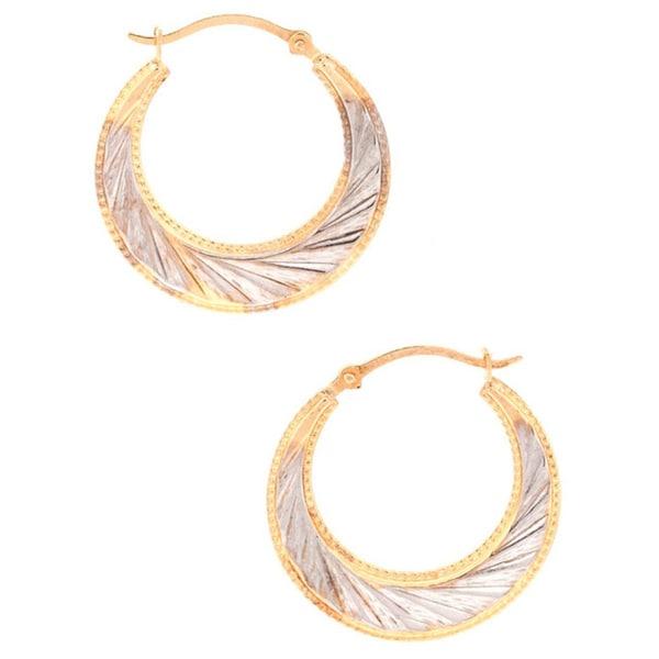 Pori 10k Two-tone Gold Two-tone Wheel Hoop Earrings