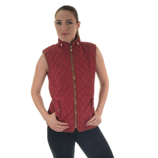 Women's Quilted Fur-Lined Zip Up Vest