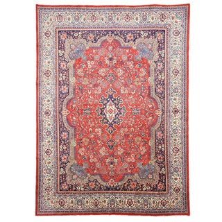 EORC X24409 Rust Hand-knotted Wool Mashad Area Rug (10'2 x 14'3)