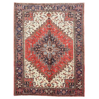 EORC X25977 Red Hand-knotted Wool Heriz Area Rug (6'11 x 9'11)