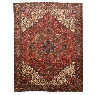 EORC X29898 Rust Hand-knotted Wool Heriz Area Rug (9'10 x 12'11)