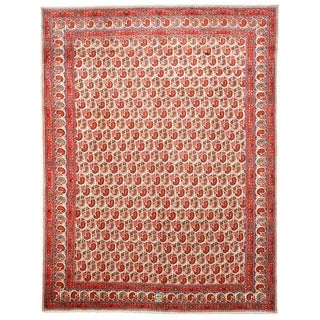 EORC X31103 Ivory Hand-knotted Wool Paisley Mood Area Rug (10'8 x 13'10)