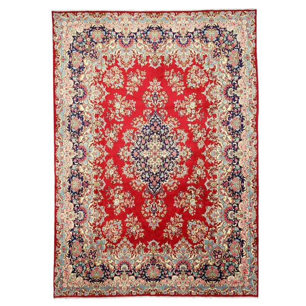 EORC X31113 Red Hand-knotted Wool Kerman Area Rug (10' x 13'11)