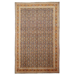 EORC X31131 Navy Hand-knotted Wool Mahi Tabriz Area Rug (8'7 x 13'10)