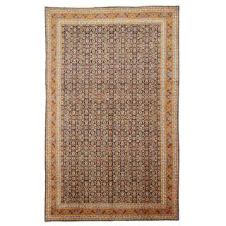 EORC Hand Knotted Wool Navy Mahi Tabriz Rug (8'5 x 13'8)