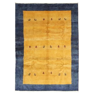 EORC X32056 Yellow Hand-knotted Wool Gabbeh Area Rug (6'9 x 9'4)