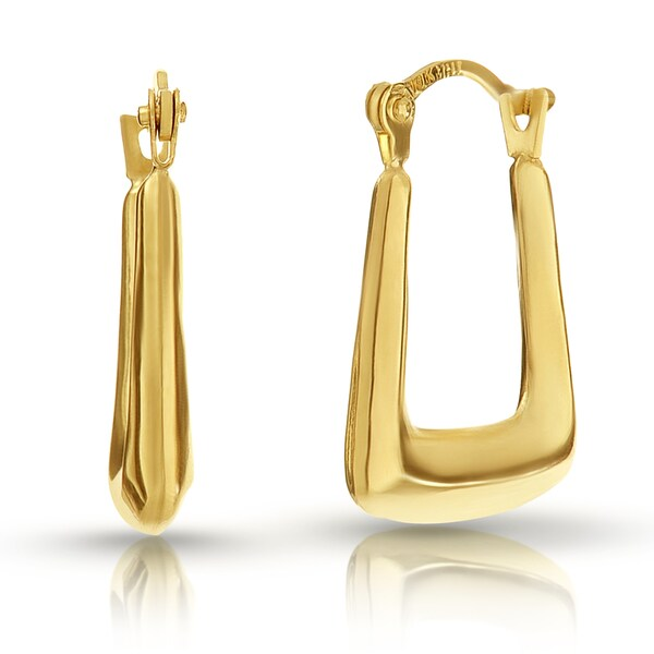 Pori Solid 10k Gold Squared Off Hoop Earrings