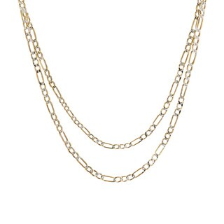 Pori 10k Gold Heavy Weight 3.5mm Figaro White Pave Chain Men's Necklace