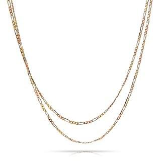 Pori 14k Gold Tricolor Figaro Chain Necklace