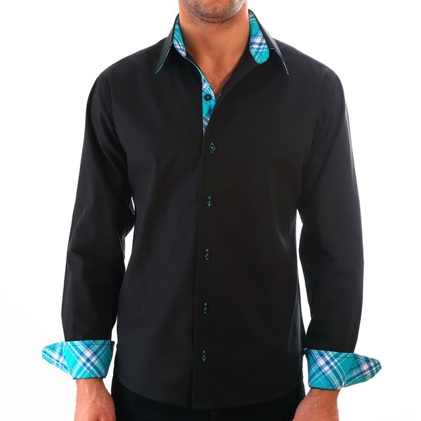 Luciano Mens Slim Fit Cotton Shirt by Vince Barbera Black
