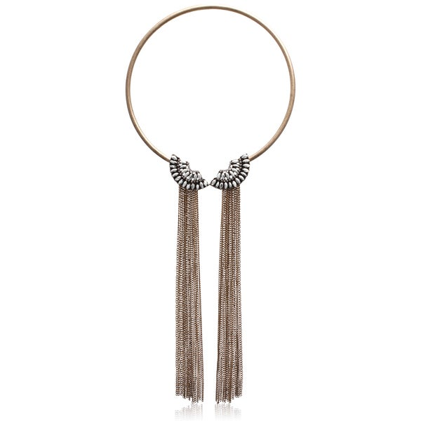 Passiana Clear Crystal Fringe Collar Necklace