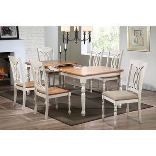 7-Piece Caramel Biscotti Rectangle Traditional-back Dining Set