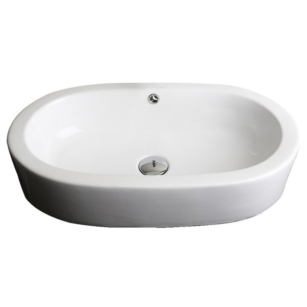 25-in. W x 15-in. D Semi-Recessed Oval Vessel In White Color For Deck Mount Faucet