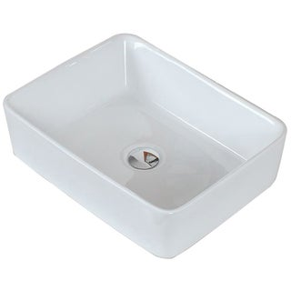 19-in. W x 14-in. D Above Counter Rectangle Vessel In White Color For Deck Mount Faucet