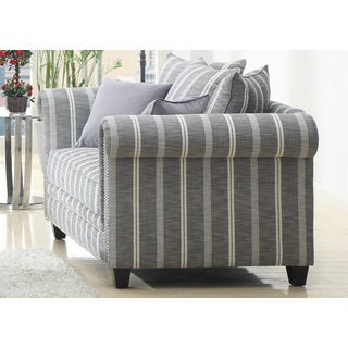 Pewter Bella Grey Stripe Loveseat
