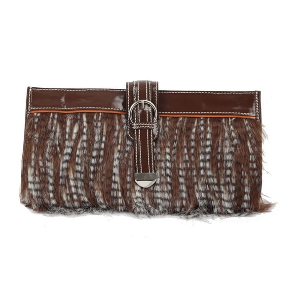 Ivory Tag Patent Leather Faux Fur Clutch