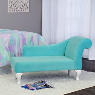 HomePop Juvenile Chaise Lounge in Auqa Turquoise Velvet