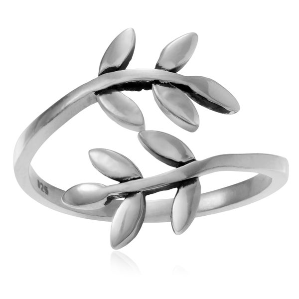Journee Collection Sterling Silver Olive Leaf Wrap Ring