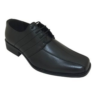 Men's Black Laced Oxford Dress Shoe with Topstitching
