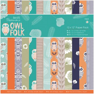 "Papermania Single-Sided Paper Pack 12""X12"" 32/Pkg-Owl Folk"
