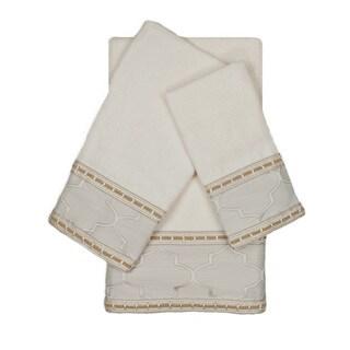 Austin Horn En'Vogue Stanton Ribbon Ecru 3-piece Decorative Embellished Towel Set