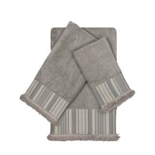 Sherry Kline Aberdeen Stripe Grey 3-piece Decorative Embellished Towel Set