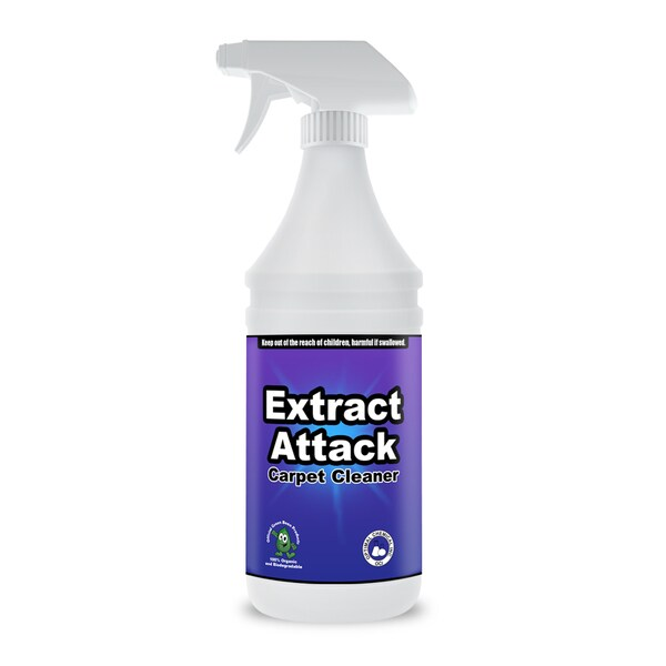Extract Attack Organic Carpet Cleaning Solution for Carpets, Rugs, Furniture, and Automotive Upholstery, 32 ounces