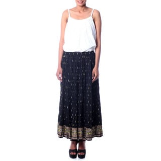 Cotton 'Royal Black Jaipur' Skirt (India)