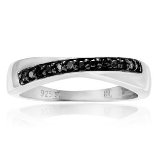 Journee Collection Sterling Silver Black Diamond 1/8 Carat Round Cut Band